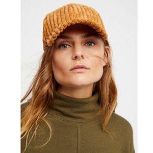 NWOT Free People sugar hill corduroy cap-hat OS